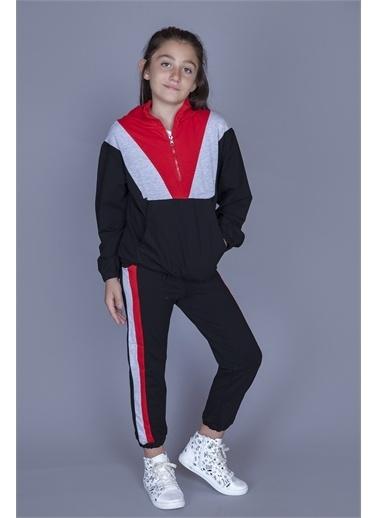Toontoy Kids Toontoy Kids Dik Yaka Uzun Kol Fermuarlı Garnili Kız Çocuk Eşofman Takımı Kırmızı